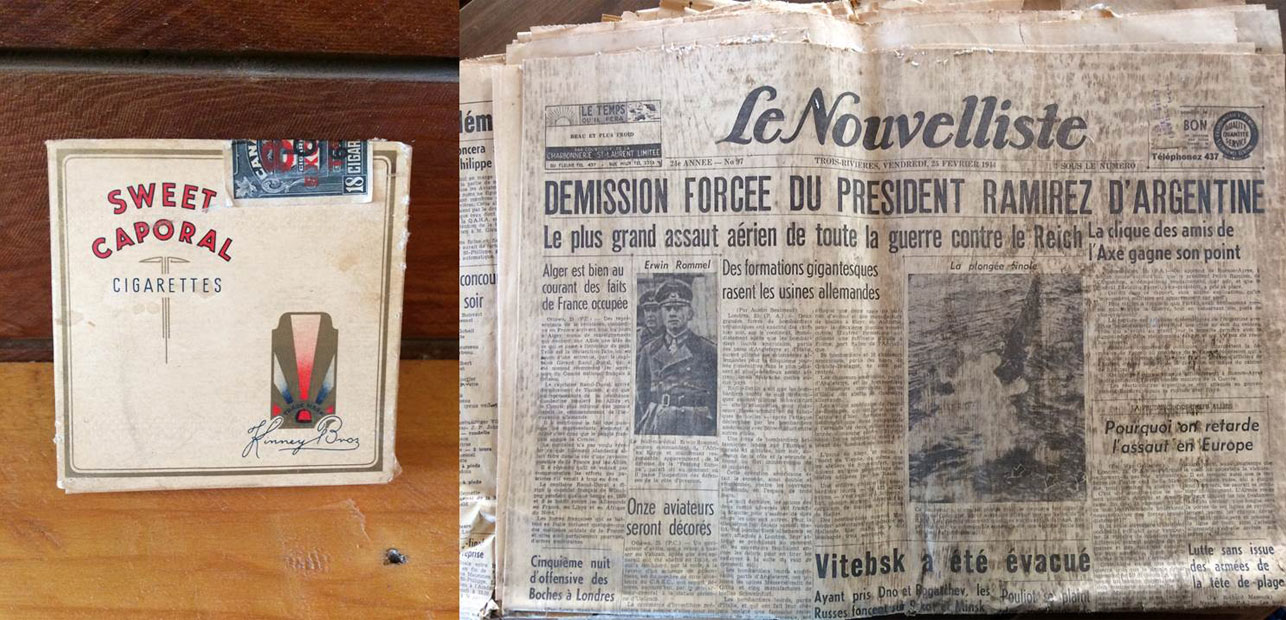 Vieux paquet de cigarettes et journal datant de la Seconde Guerre Mondiale
