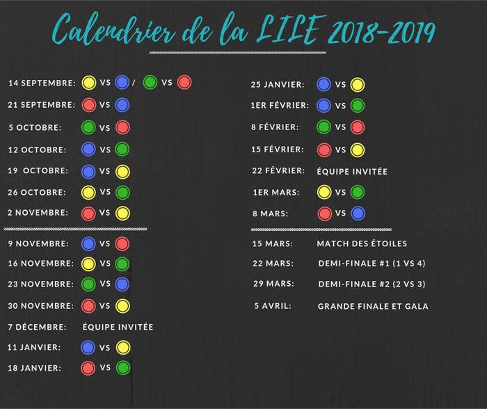 Calendrier des matchs de la LILE 2018-2019
